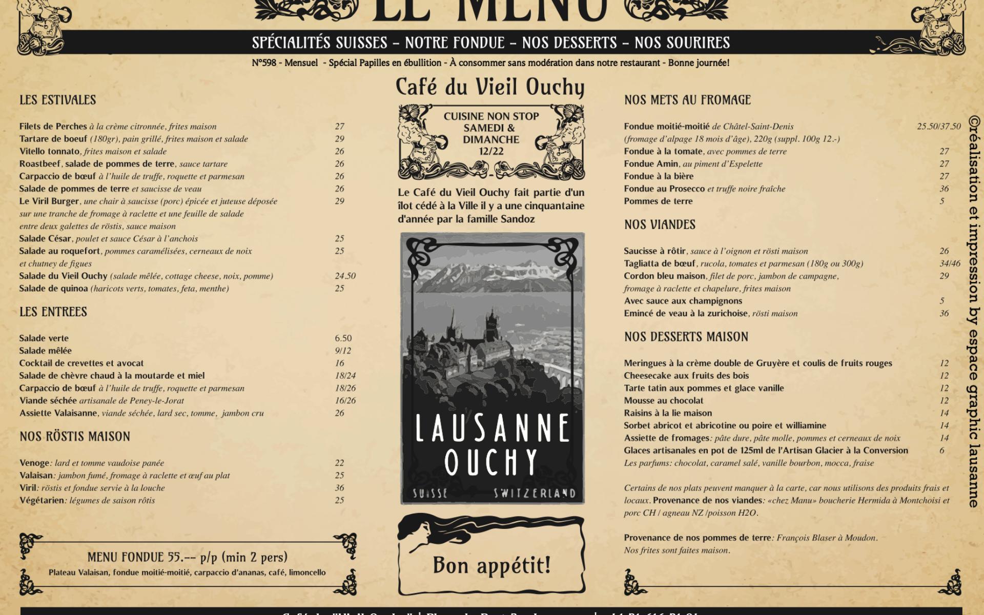 ouchy carte des menus lausanne